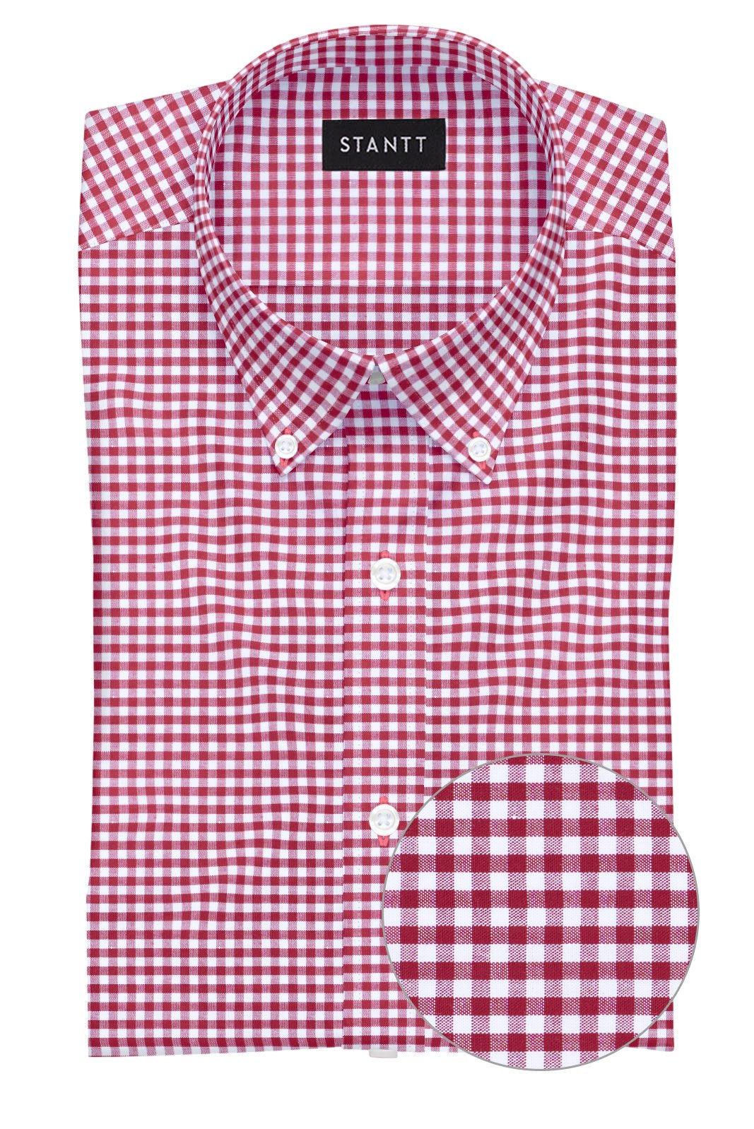Brick Red Mini Gingham: Button-Down Collar, Barrel Cuff