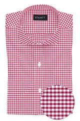 Brick Red Mini Gingham: Cutaway Collar, French Cuff