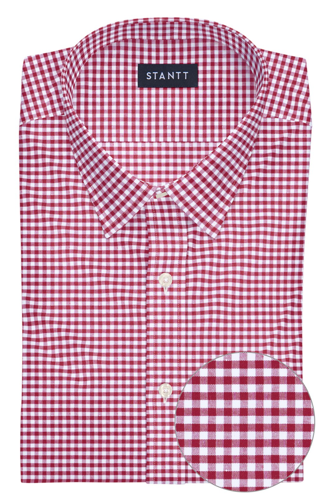 Brick Red Mini Gingham: Semi-Spread Collar, French Cuff