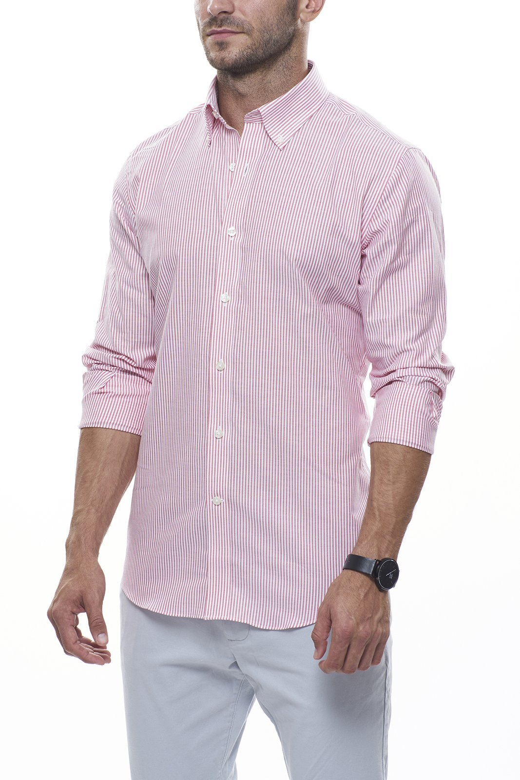 Brick Striped Oxford: Modified-Spread Collar, Barrel Cuff