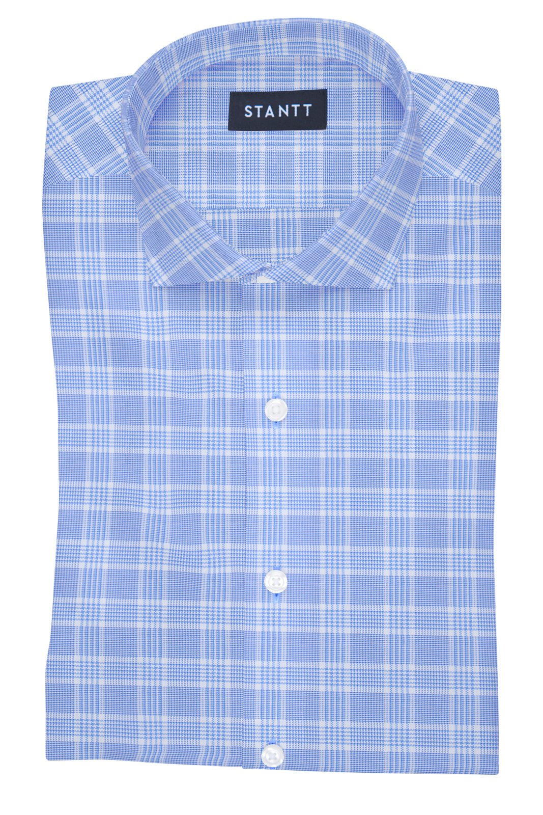 British Blue Prince of Wales Check: Cutaway Collar, French Cuff