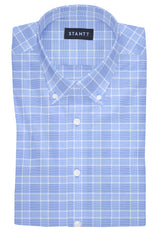 British Blue Prince of Wales Check: Button-Down Collar, Barrel Cuff