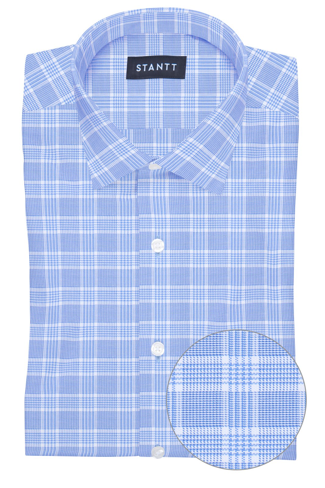 British Blue Prince of Wales Check: Modified-Spread Collar, Barrel Cuff