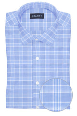 British Blue Prince of Wales Check: Modified-Spread Collar, French Cuff