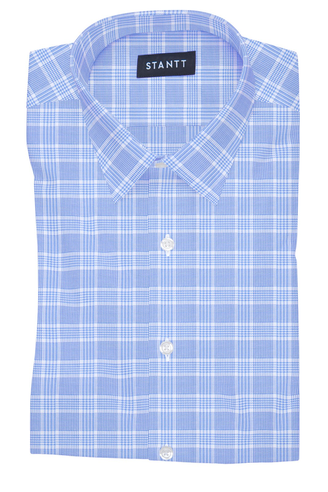 British Blue Prince of Wales Check: Semi-Spread Collar, French Cuff
