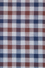 Brown Herringbone Gingham: Modified-Spread Collar, Barrel Cuff