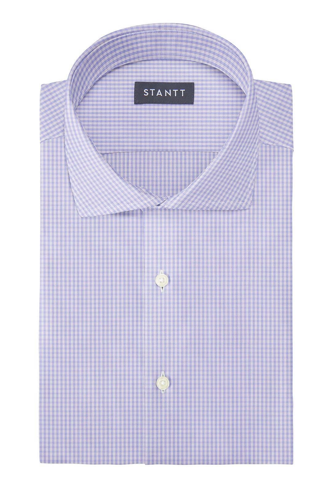 Wrinkle-Resistant Sky Blue Grid Check: Cutaway Collar, Barrel Cuff
