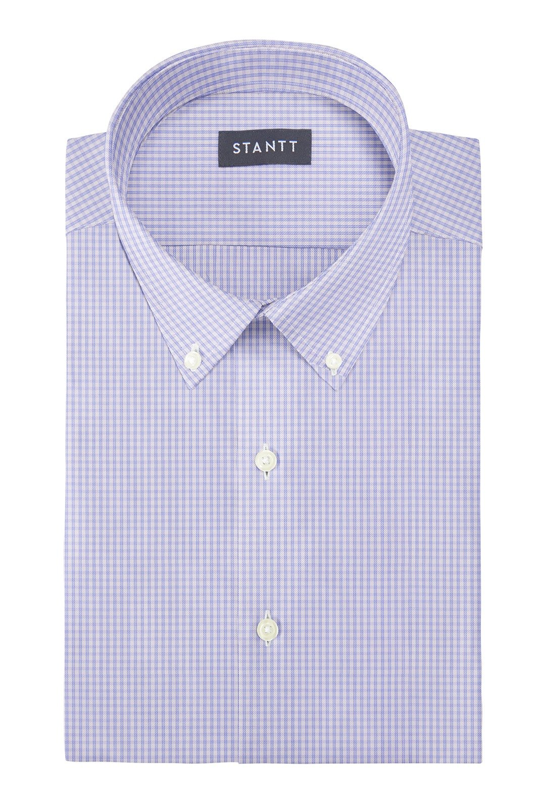 Wrinkle-Resistant Sky Blue Grid Check: Button-Down Collar, Barrel Cuff