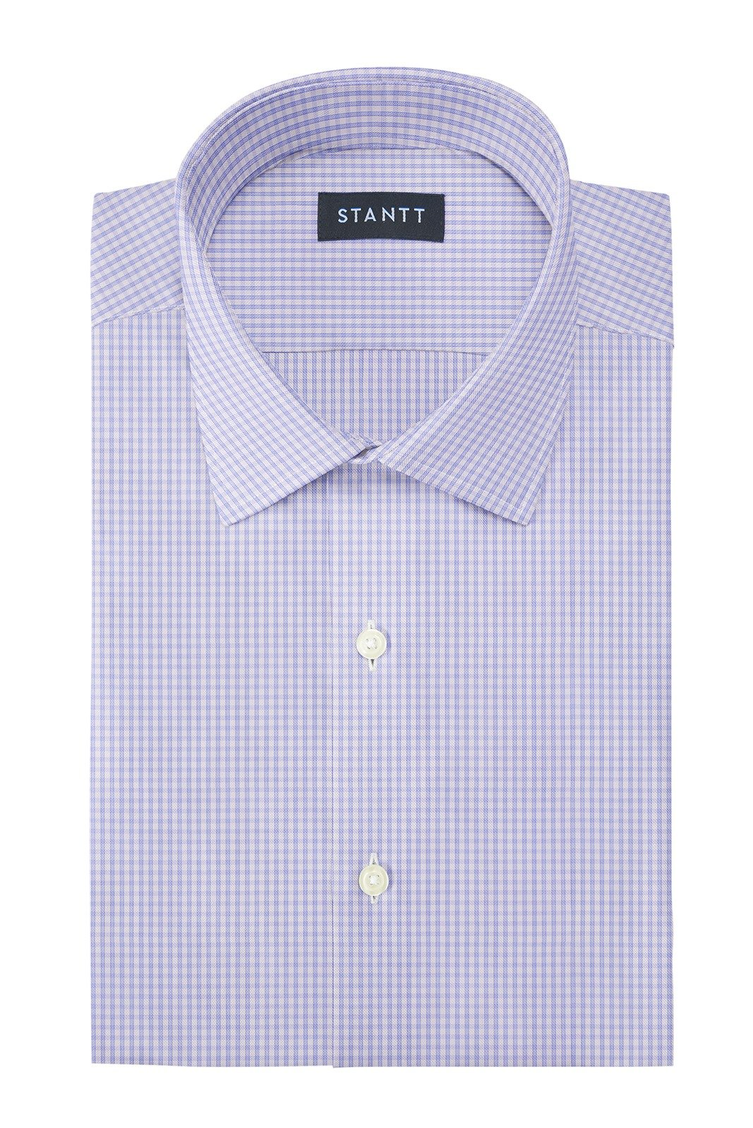 Wrinkle-Resistant Sky Blue Grid Check: Modified-Spread Collar, Barrel Cuff