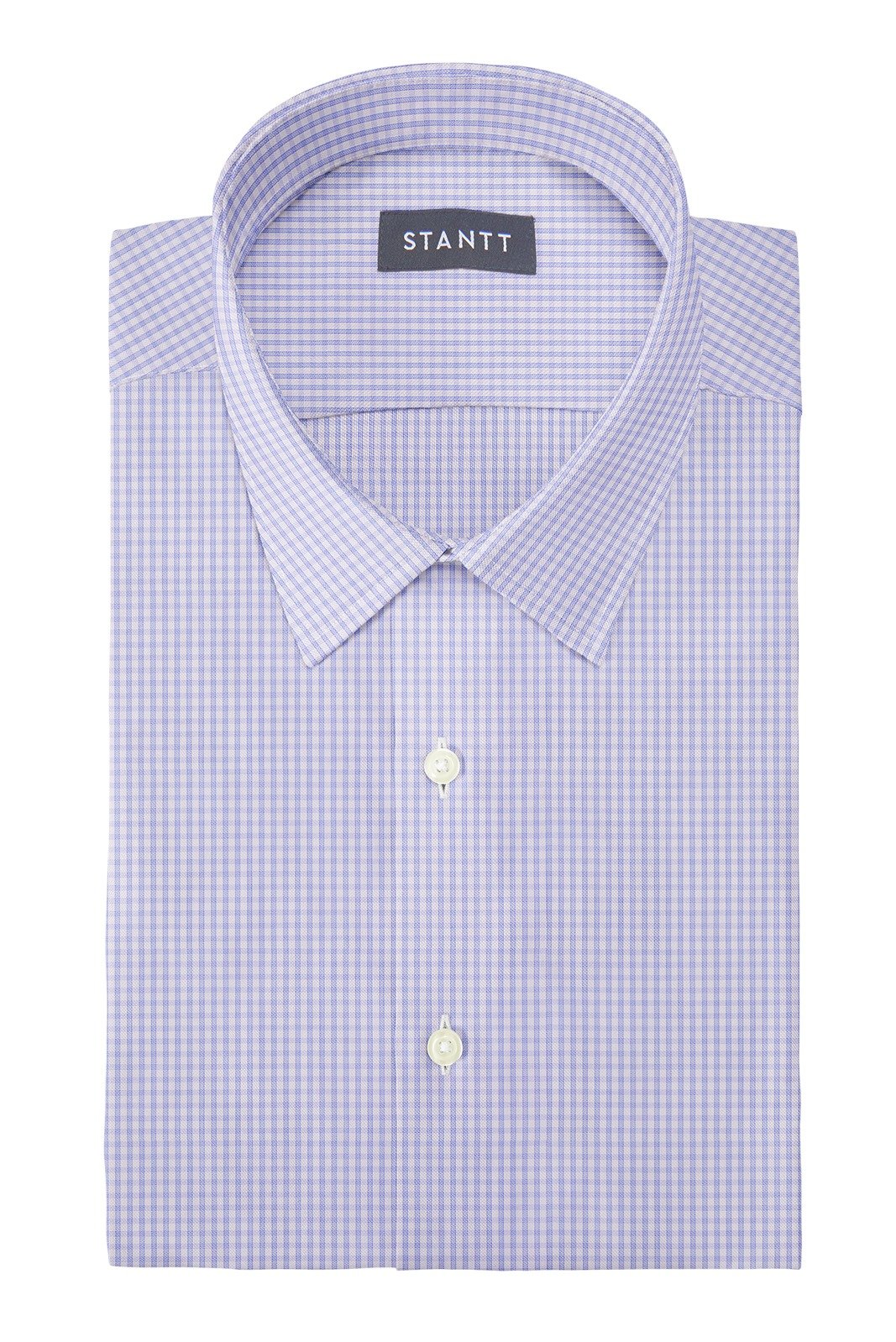 Wrinkle-Resistant Sky Blue Grid Check: Semi-Spread Collar, French Cuff