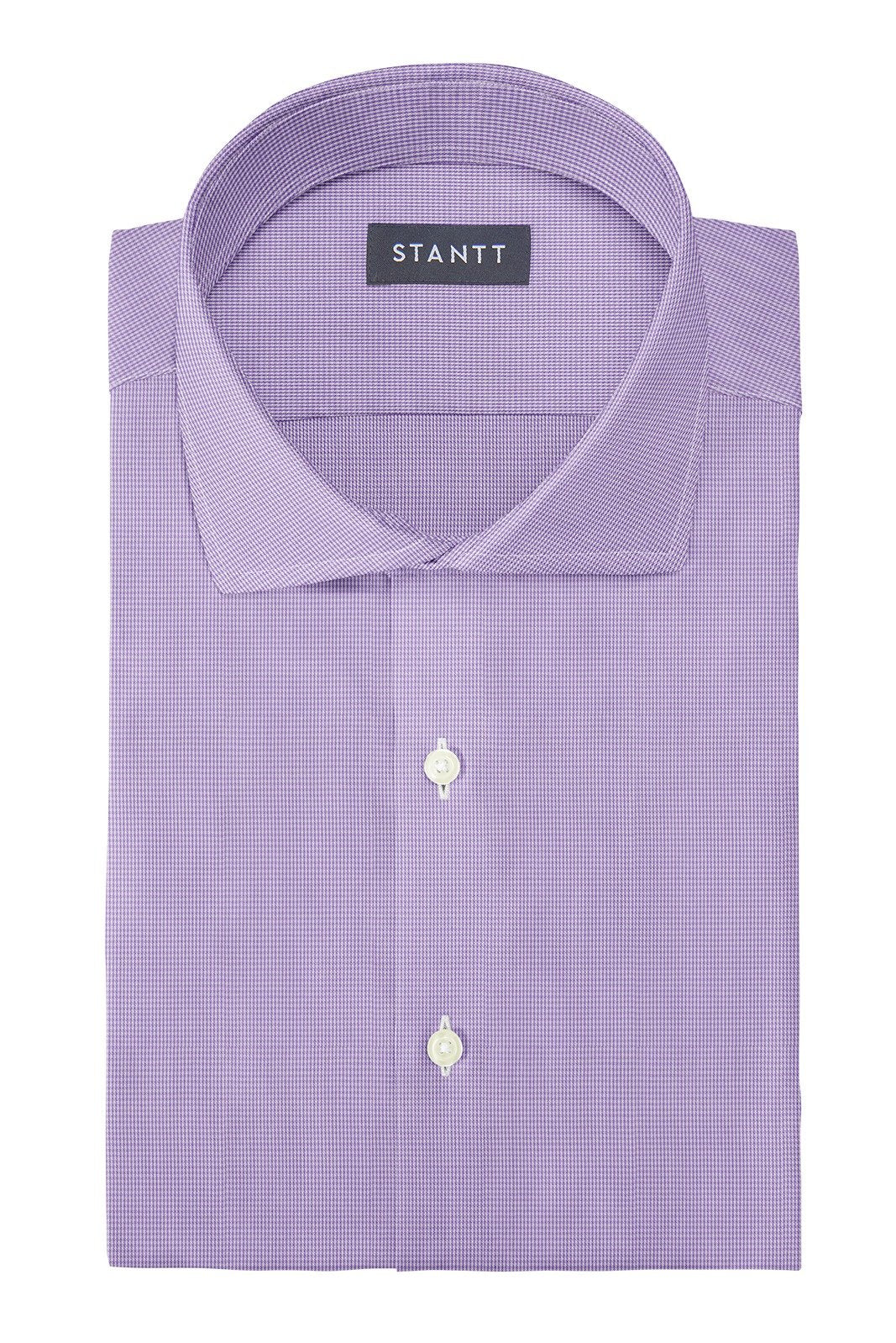 Wrinkle-Resistant Purple Micro Gingham: Cutaway Collar, French Cuff