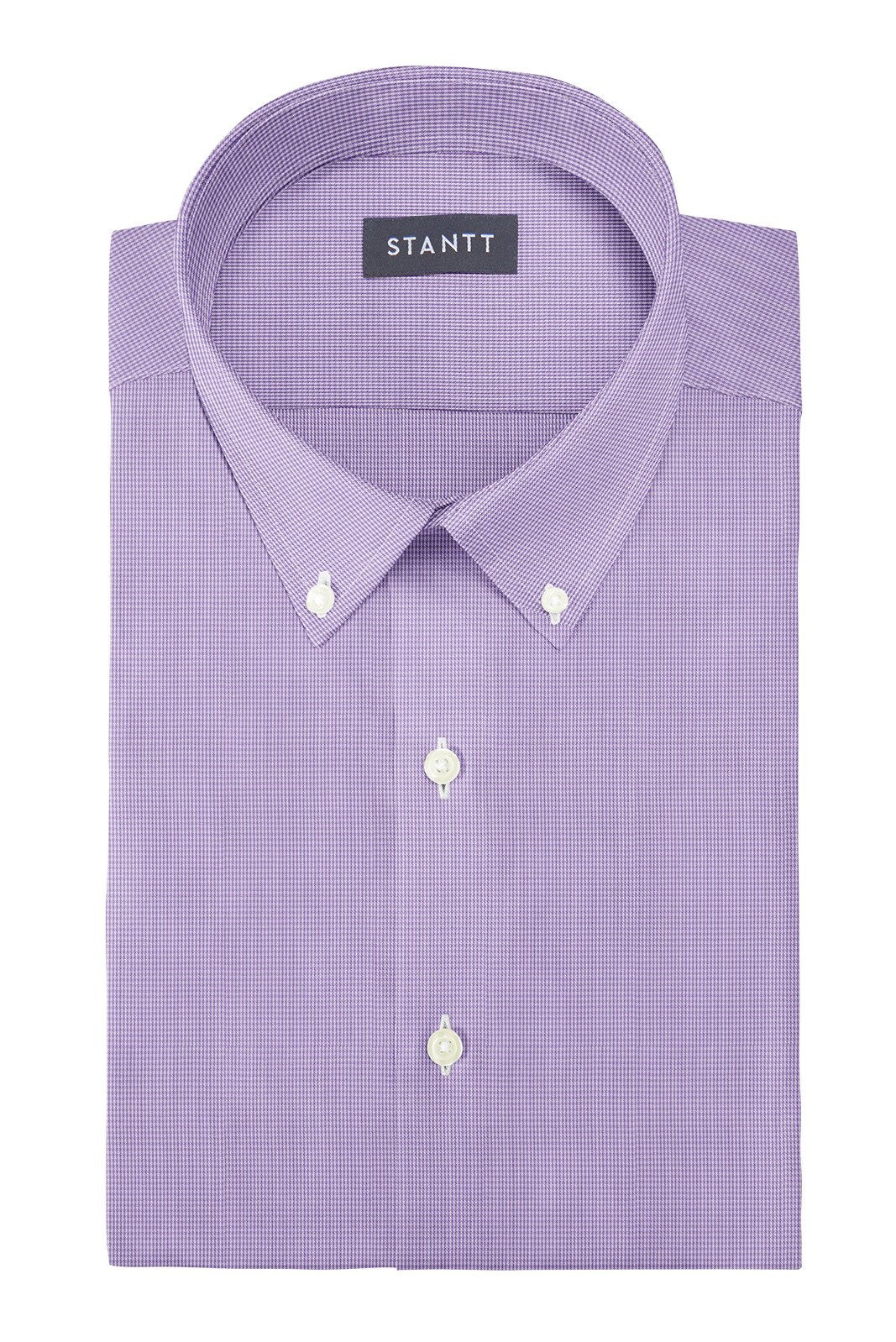 Wrinkle-Resistant Purple Micro Gingham: Button-Down Collar, Barrel Cuff