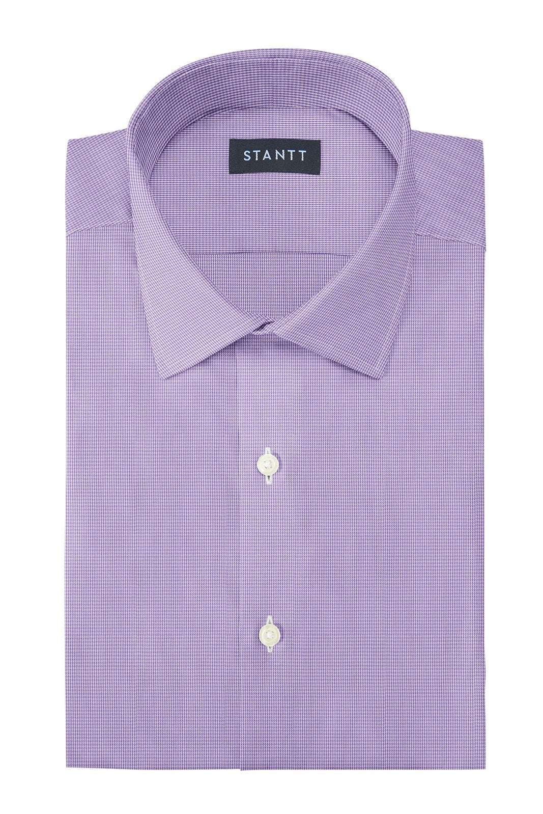 Wrinkle-Resistant Purple Micro Gingham: Modified-Spread Collar, French Cuff