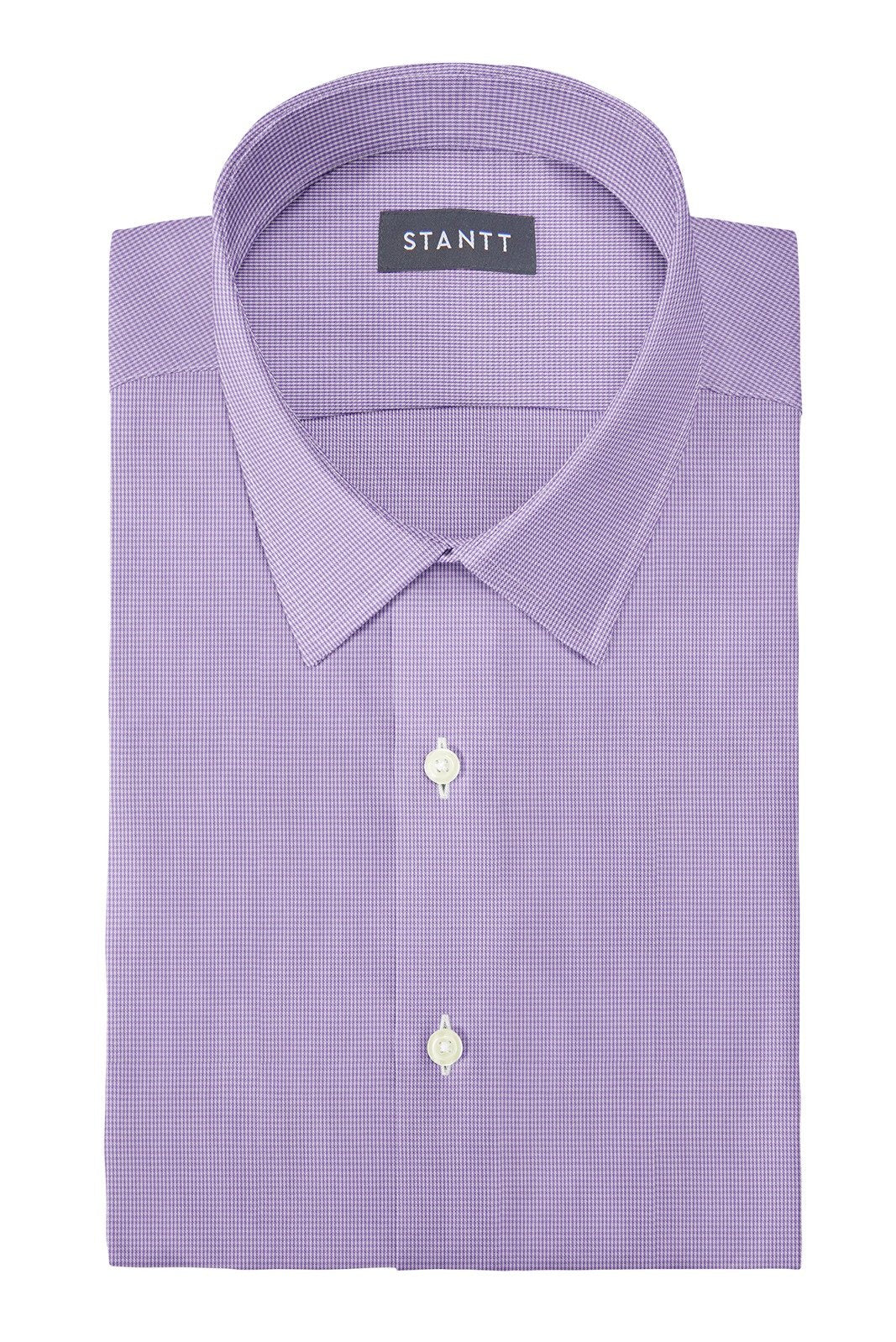 Wrinkle-Resistant Purple Micro Gingham: Semi-Spread Collar, French Cuff