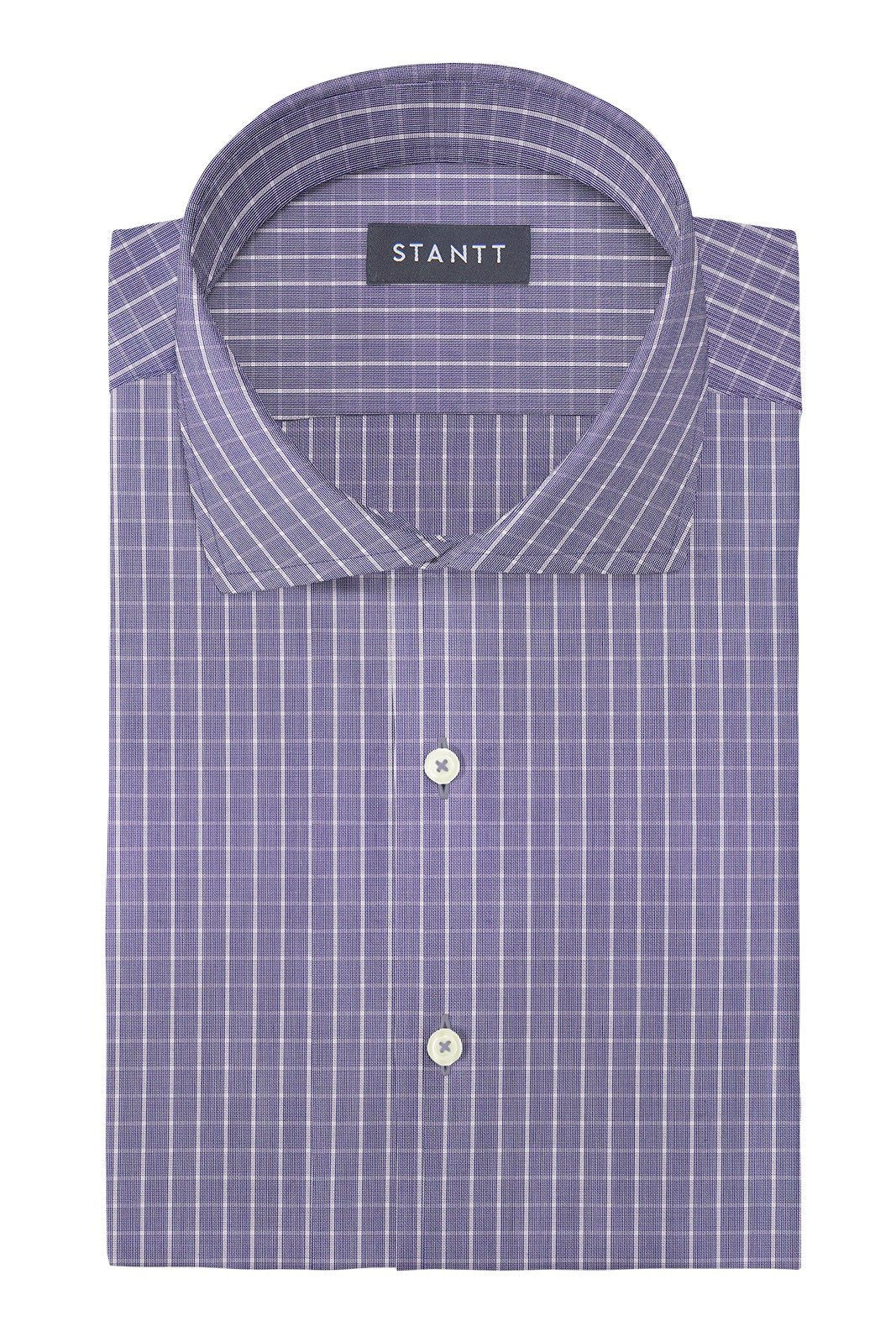 Wrinkle-Resistant Navy Gingham: Cutaway Collar, French Cuff