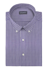 Wrinkle-Resistant Navy Gingham: Button-Down Collar, Barrel Cuff