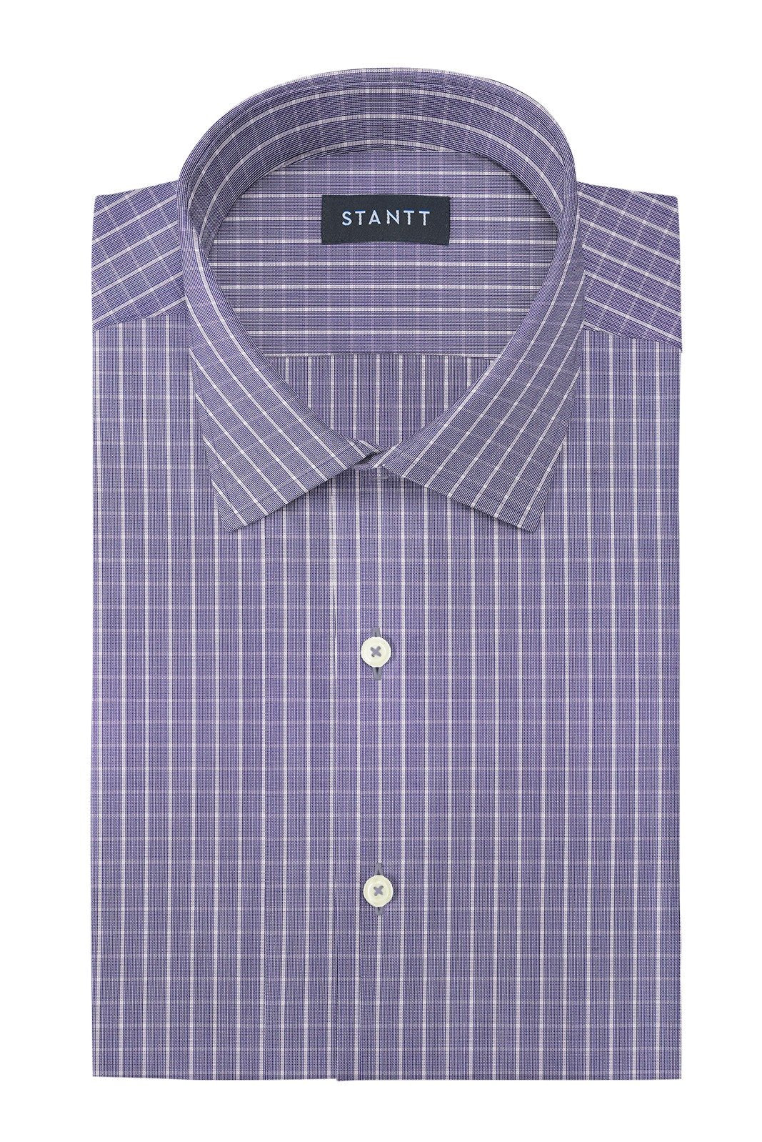 Wrinkle-Resistant Navy Gingham: Modified-Spread Collar, Barrel Cuff