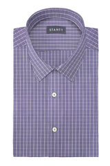Wrinkle-Resistant Navy Gingham: Semi-Spread Collar, French Cuff