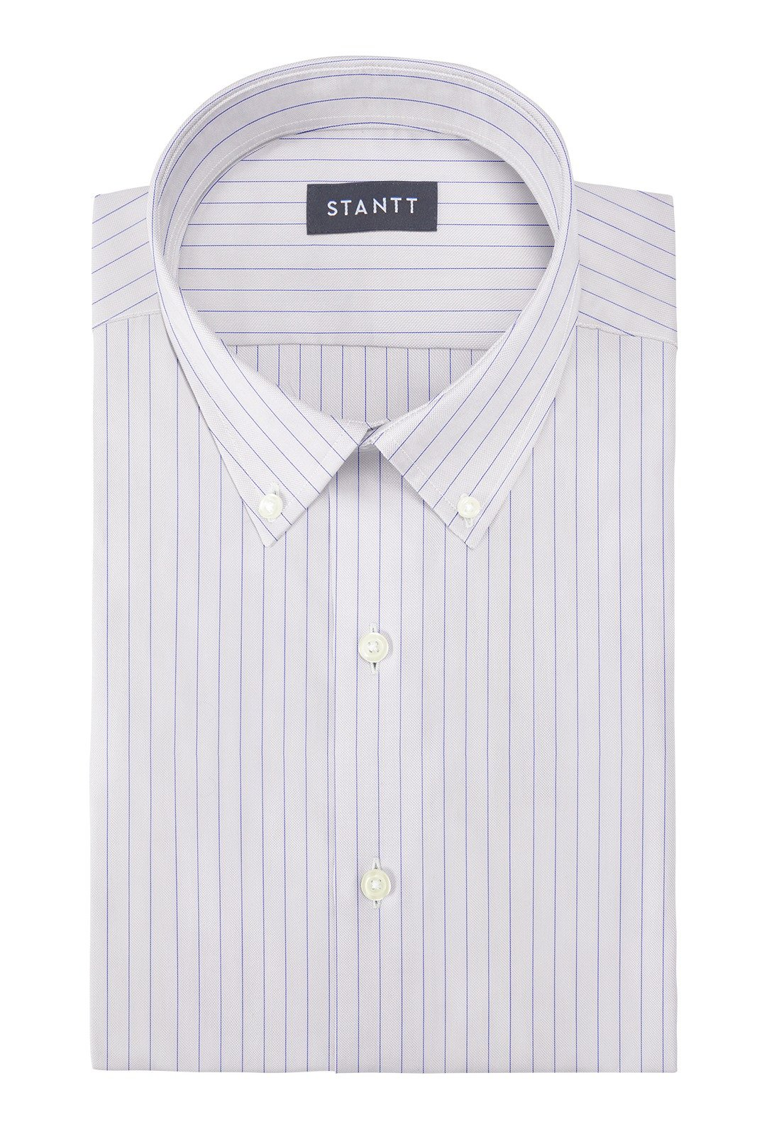 Wrinkle-Resistant Blue Hairline Stripe: Button-Down Collar, Barrel Cuff