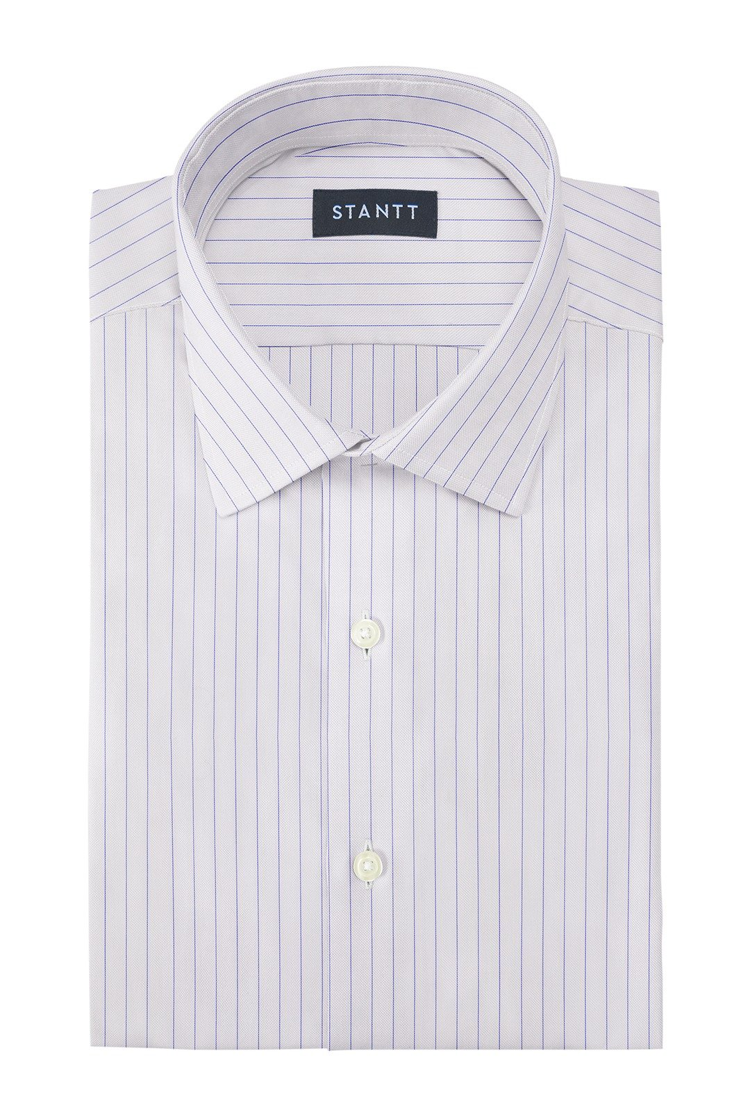 Wrinkle-Resistant Blue Hairline Stripe: Modified-Spread Collar, French Cuff