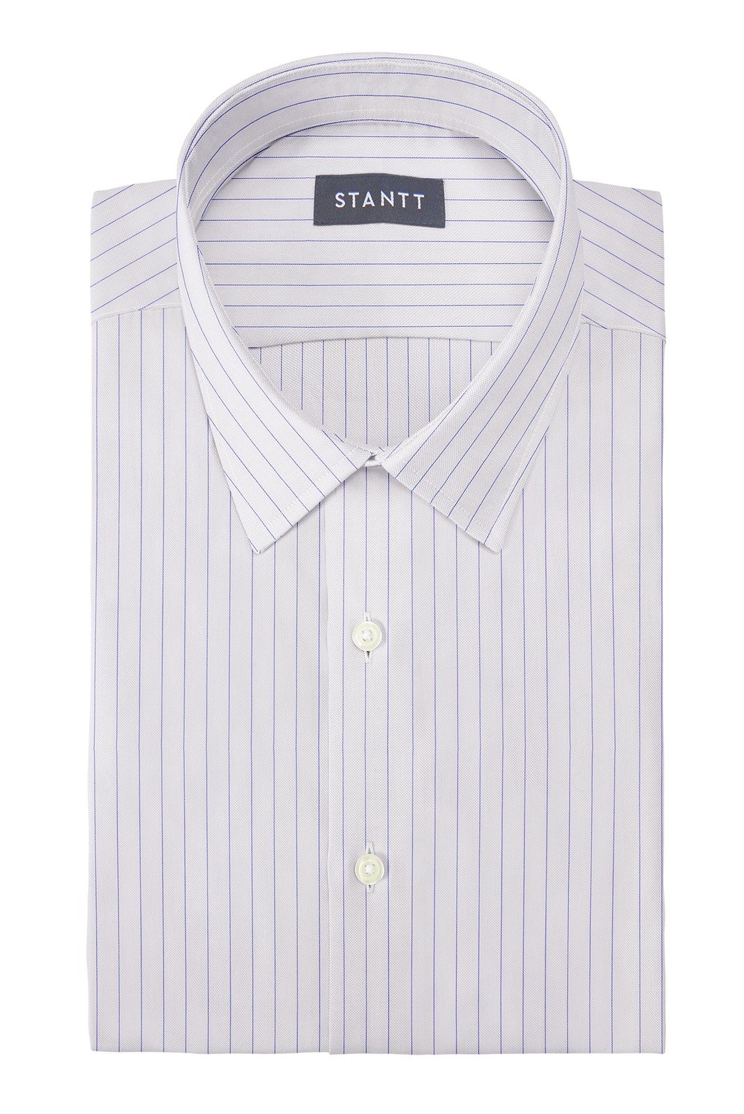Wrinkle-Resistant Blue Hairline Stripe: Semi-Spread Collar, French Cuff