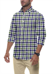 Navy and Olive Slubweave Check: Semi-Spread Collar, Long Sleeve