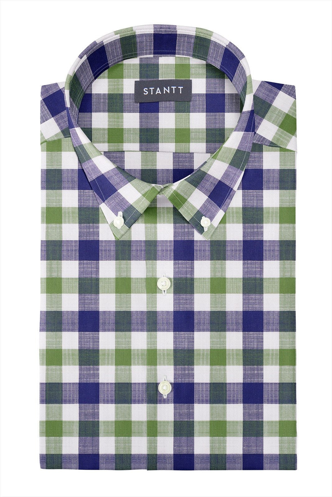 Navy and Olive Slubweave Check: Button-Down Collar, Short Sleeve