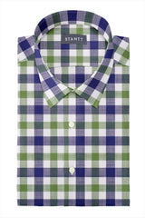 Navy and Olive Slubweave Check: Semi-Spread Collar, Short Sleeve
