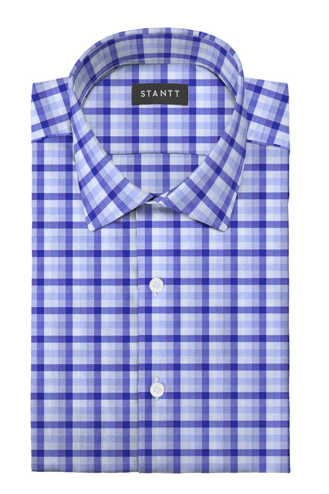 Blue Multi Check: Modified-Spread Collar, Barrel Cuff