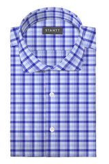 Blue Multi Check: Cutaway Collar, Barrel Cuff