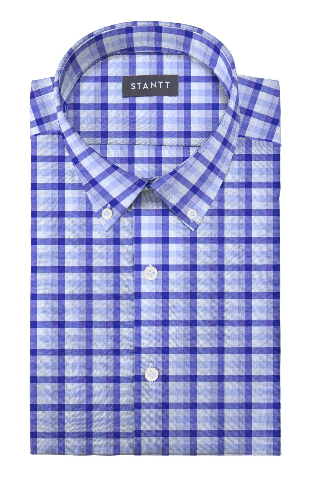 Blue Multi Check: Button-Down Collar, Barrel Cuff