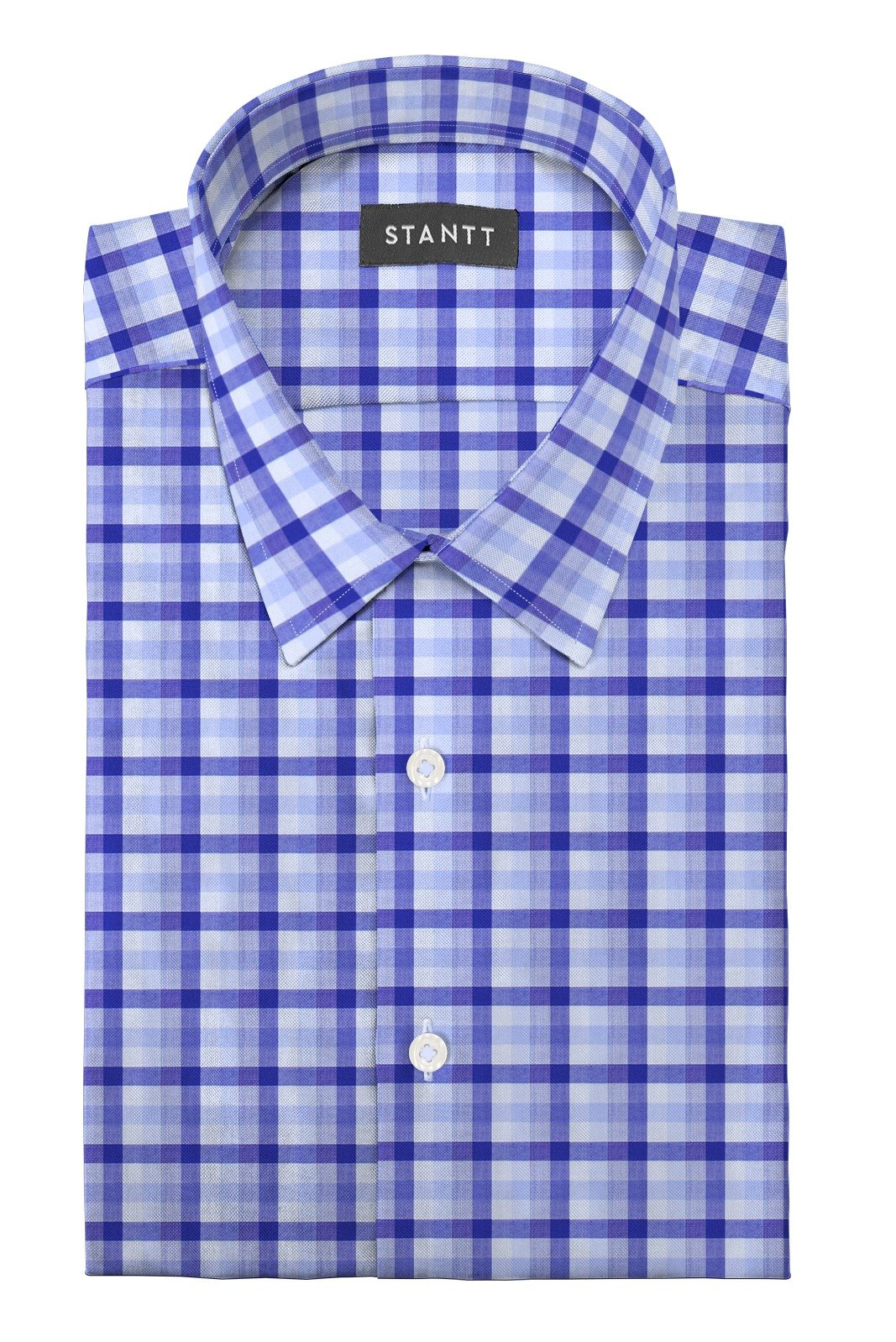 Blue Multi Check: Semi-Spread Collar, Barrel Cuff