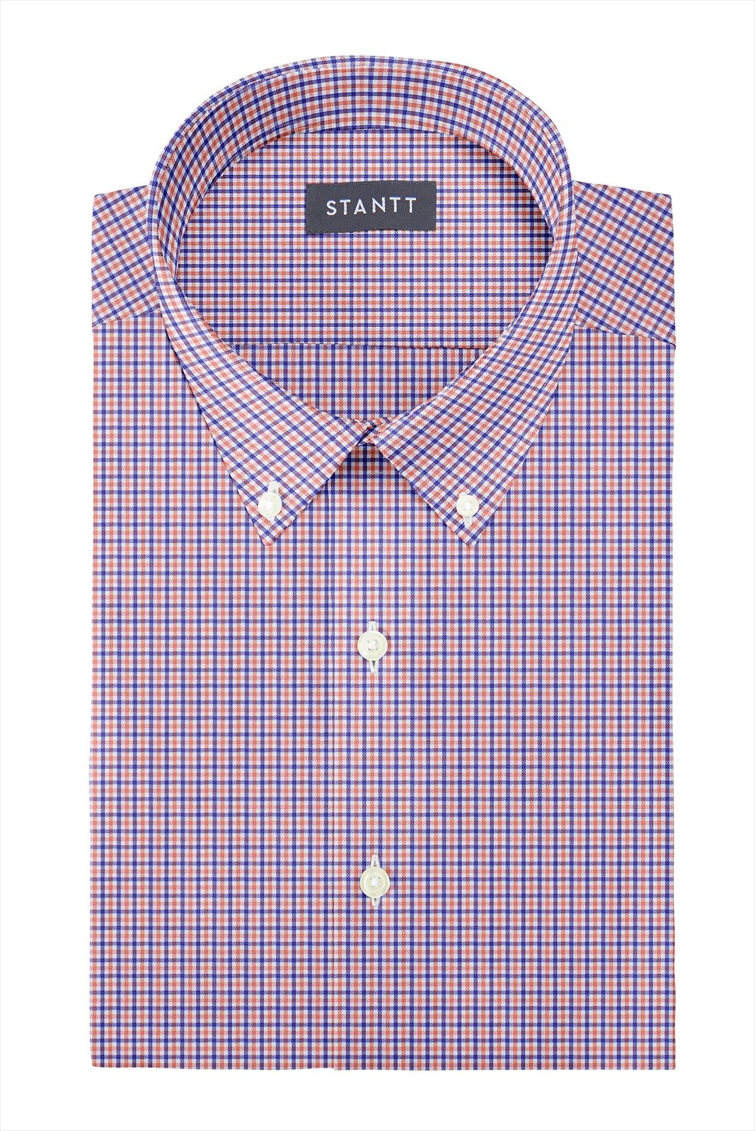 Orange and Blue Mini Tattersall: Button-Down Collar, Barrel Cuff