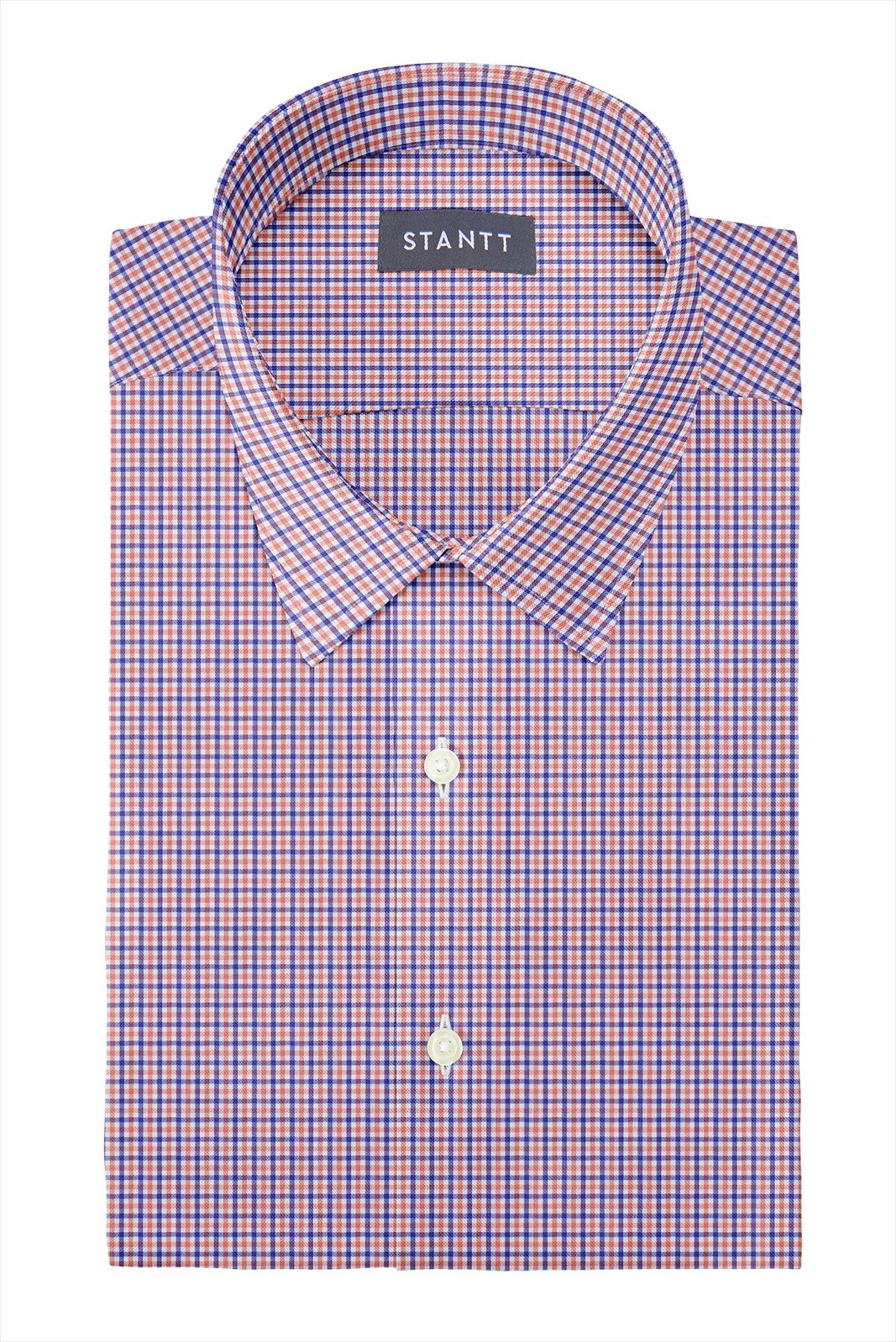 Orange and Blue Mini Tattersall: Semi-Spread Collar, Barrel Cuff