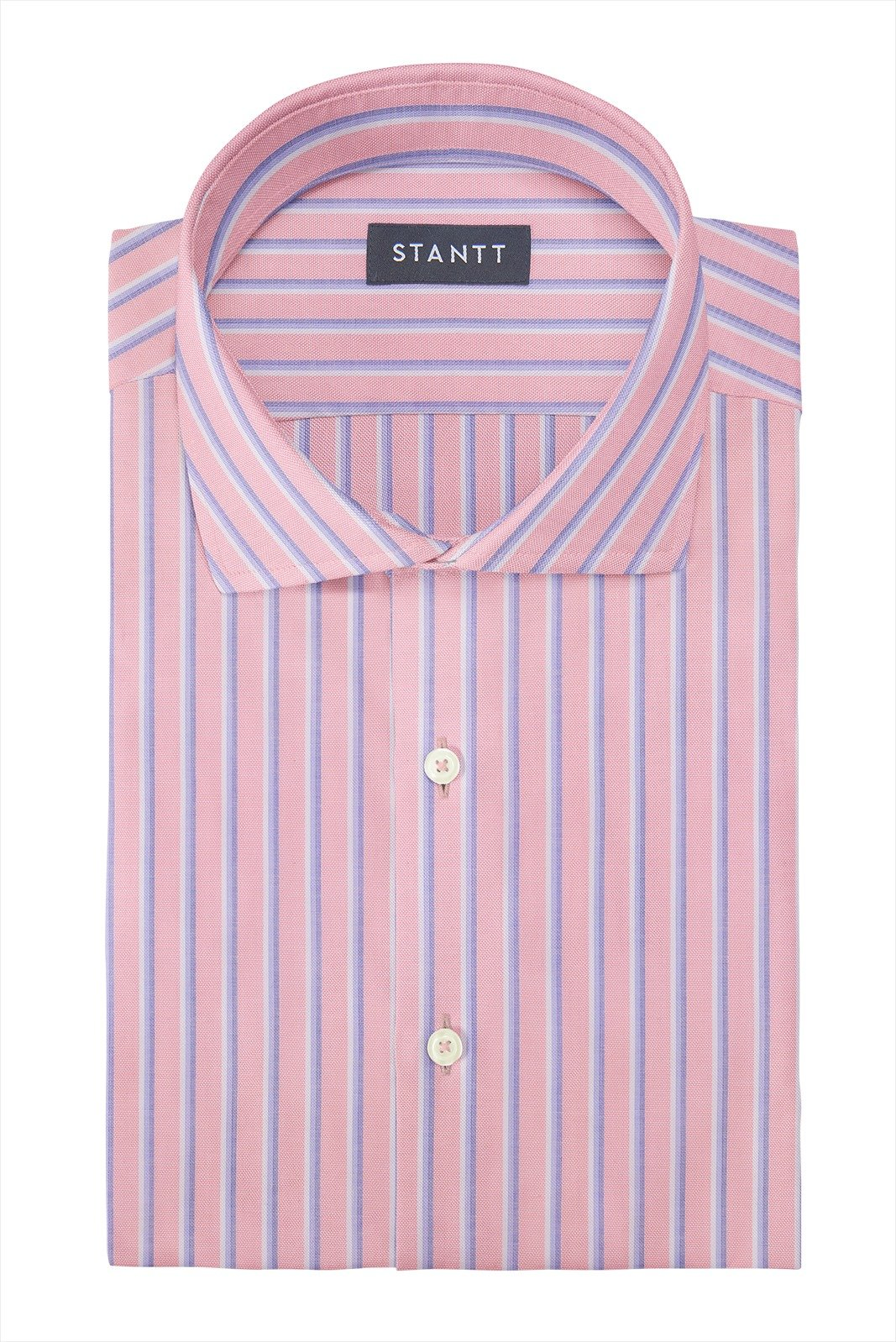 Bold Pink Oxford Stripe: Cutaway Collar, French Cuff