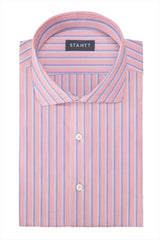 Bold Pink Oxford Stripe: Cutaway Collar, Barrel Cuff