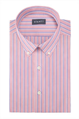 Bold Pink Oxford Stripe: Button-Down Collar, Barrel Cuff
