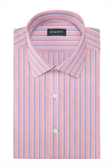 Bold Pink Oxford Stripe: Modified-Spread Collar, Barrel Cuff