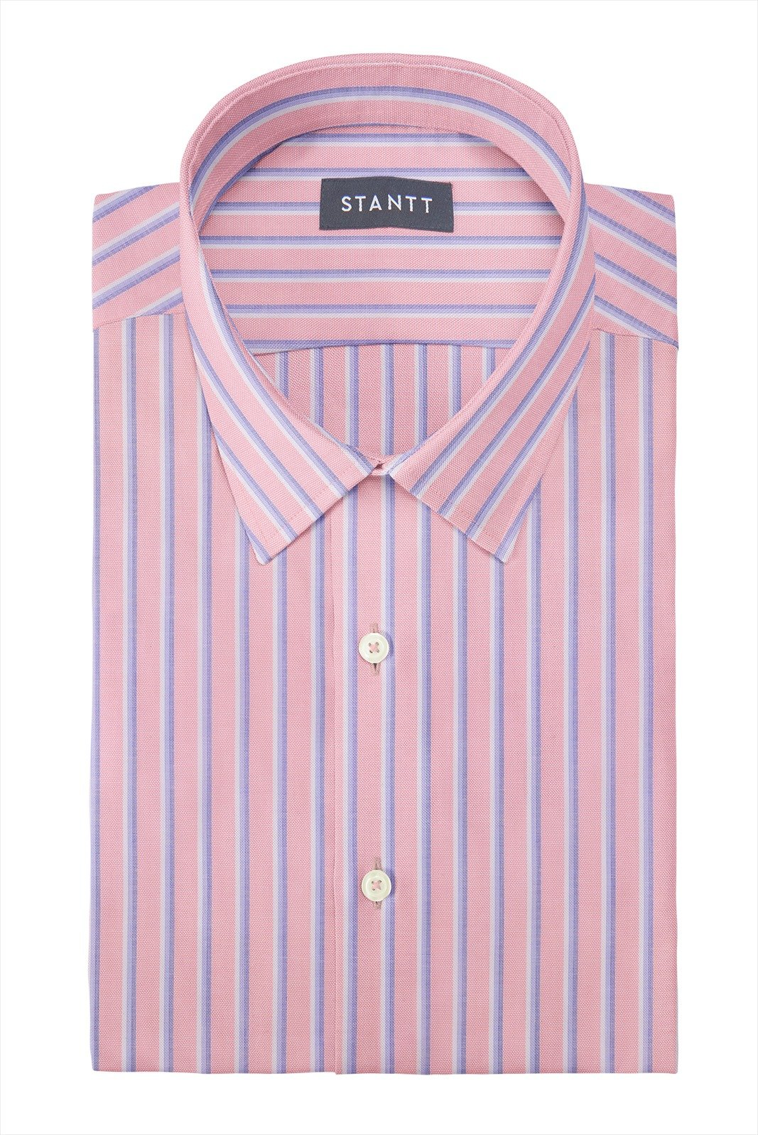 Bold Pink Oxford Stripe: Semi-Spread Collar, Barrel Cuff