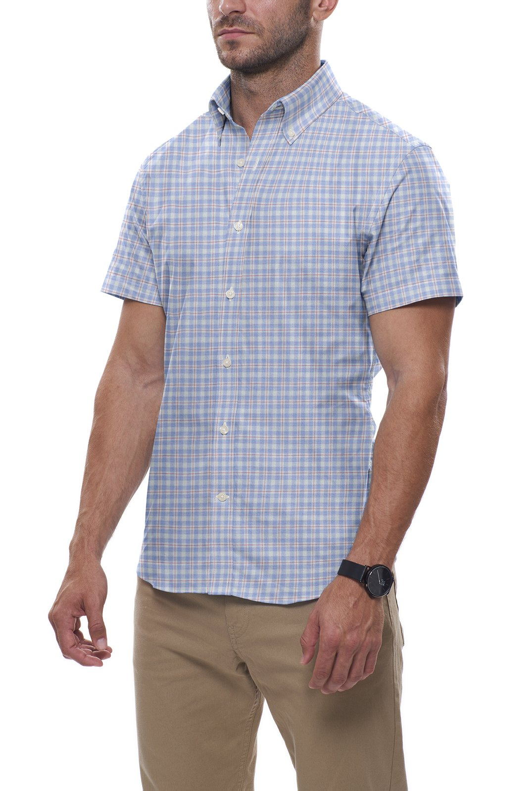 Light Blue and Red Windowpane: Semi-Spread Collar, Short Sleeve