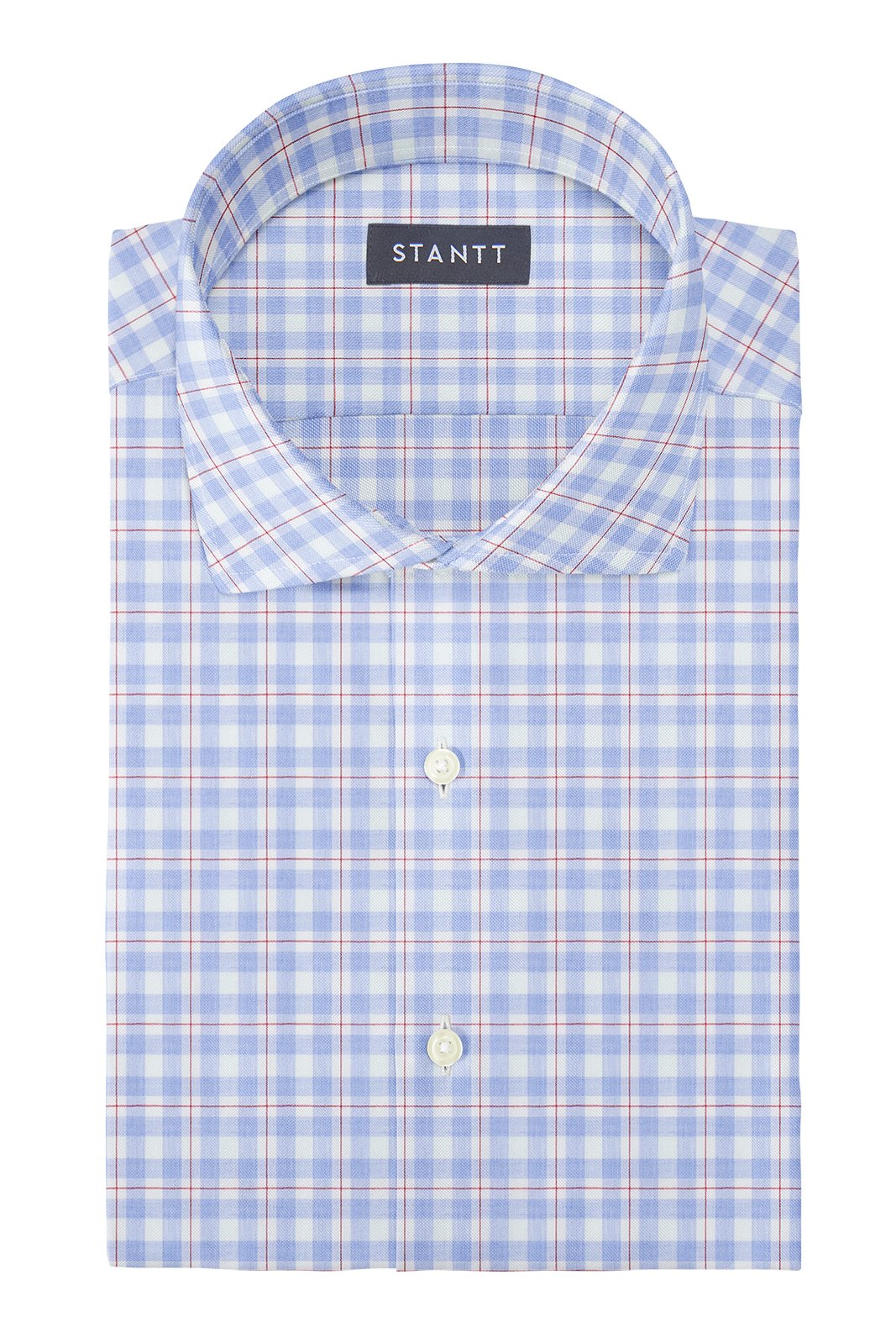 Light Blue and Red Windowpane: Cutaway Collar, French Cuff