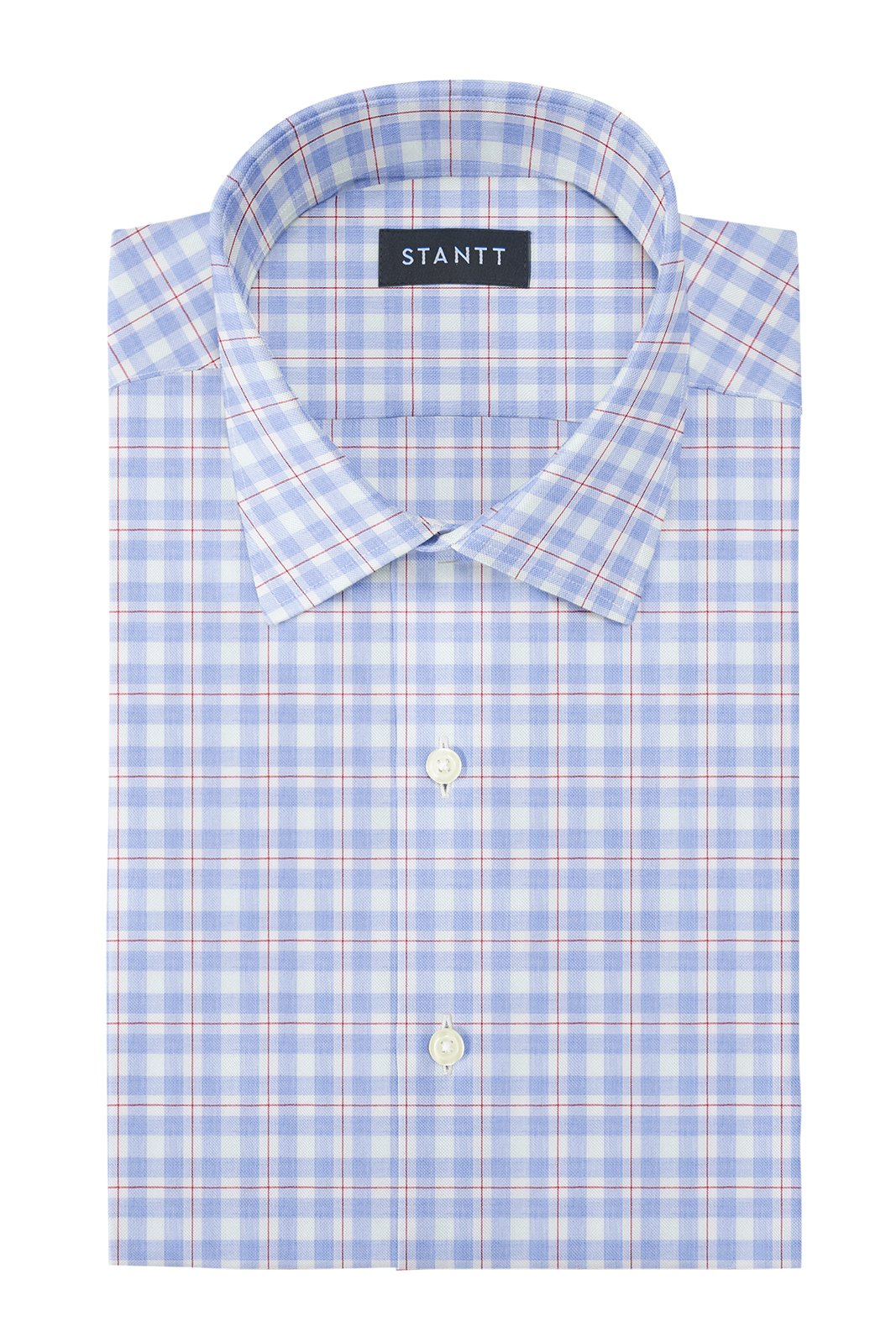 Light Blue and Red Windowpane: Modified-Spread Collar, Barrel Cuff