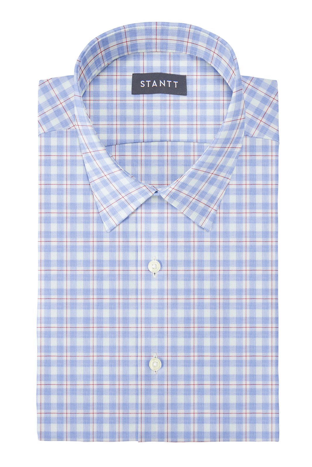 Light Blue and Red Windowpane: Semi-Spread Collar, Barrel Cuff