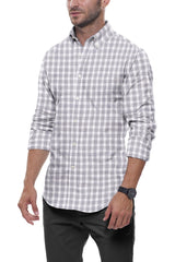 Heather Stone Buffalo Check: Semi-Spread Collar, Long Sleeve