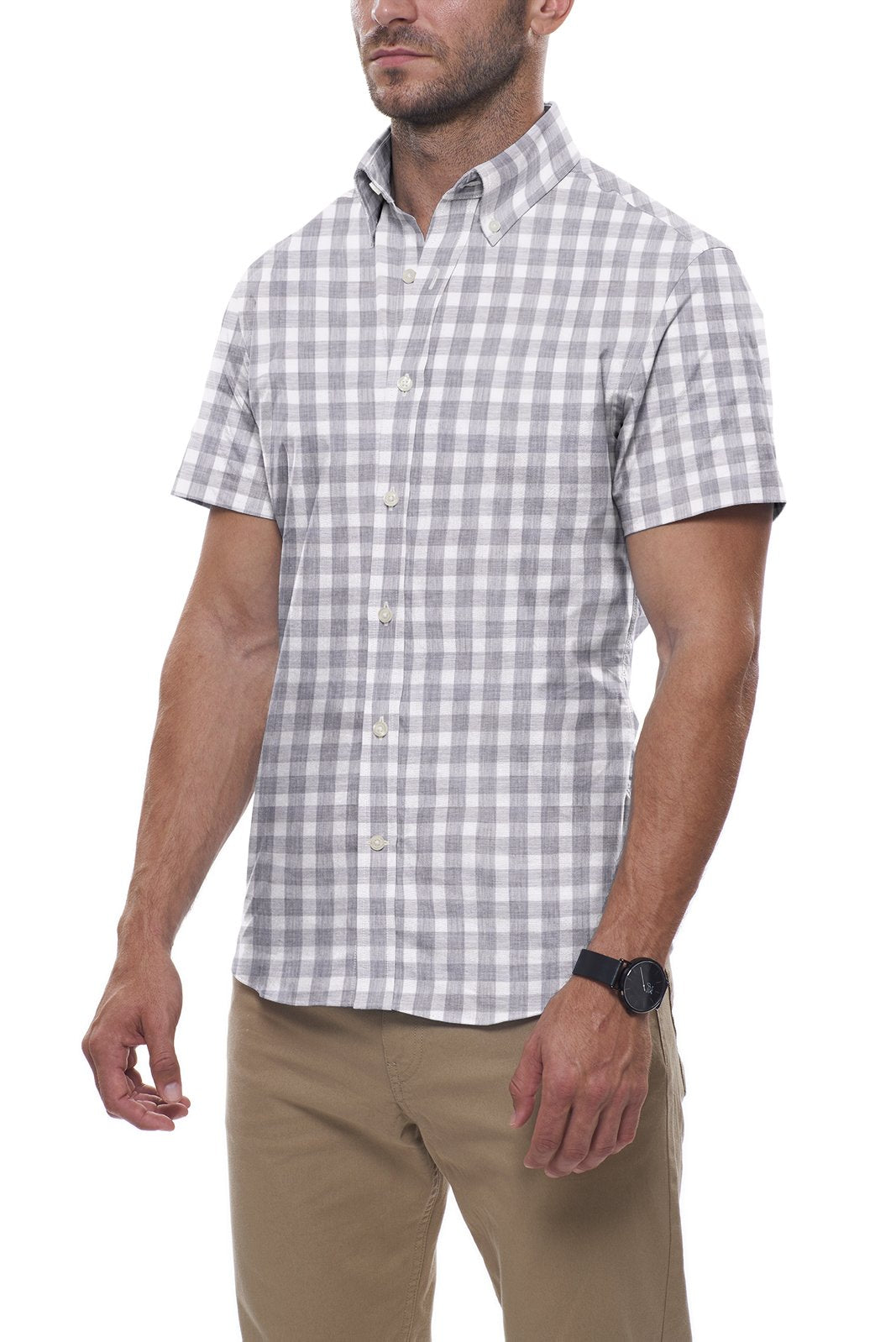 Heather Stone Buffalo Check: Semi-Spread Collar, Short Sleeve