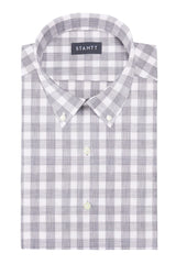 Heather Stone Buffalo Check: Button-Down Collar, Short Sleeve