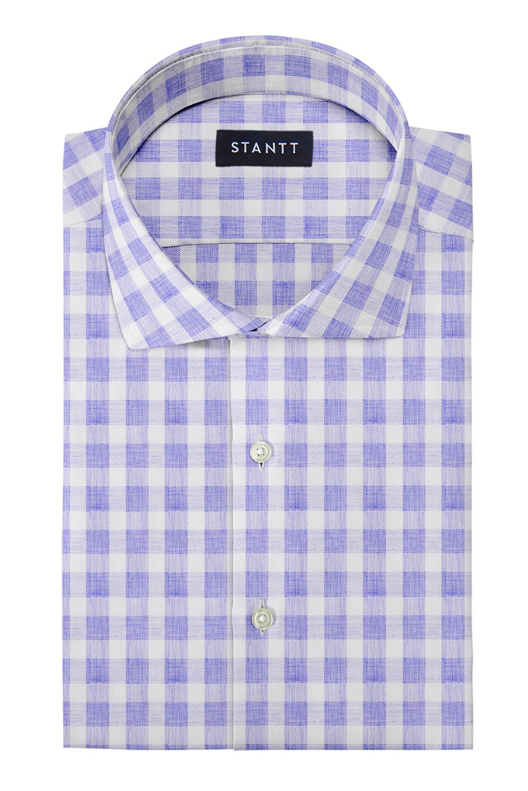 Heather Blue Buffalo Check: Cutaway Collar, French Cuff