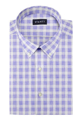 Heather Blue Buffalo Check: Button-Down Collar, Barrel Cuff