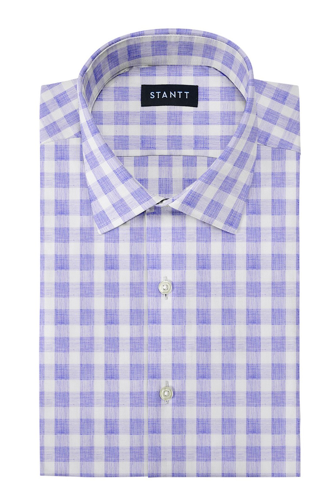 Heather Blue Buffalo Check: Modified-Spread Collar, Barrel Cuff