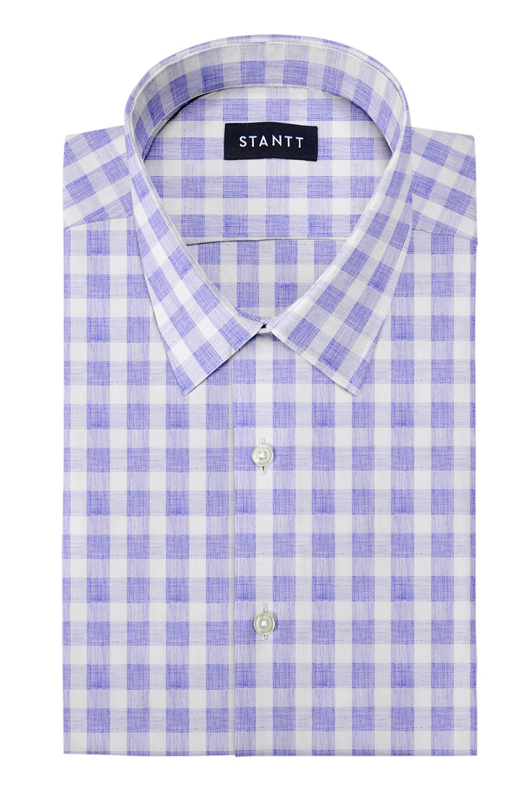 Heather Blue Buffalo Check: Semi-Spread Collar, French Cuff